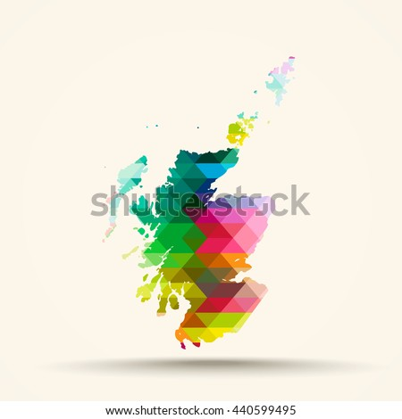 Abstract geometric map Scotland background consisting of triangles - stock vector