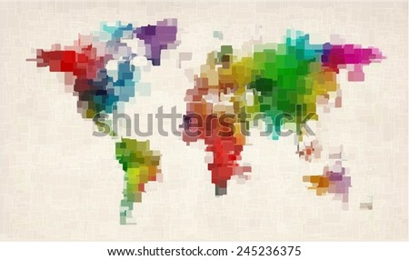Abstract geometric modern background with colorful squares forming the world map - stock vector