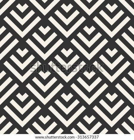 Abstract Geometric Modern Line Vector Seamless Pattern Monochrome Endless Texture  Use For Wallpaper,web Page