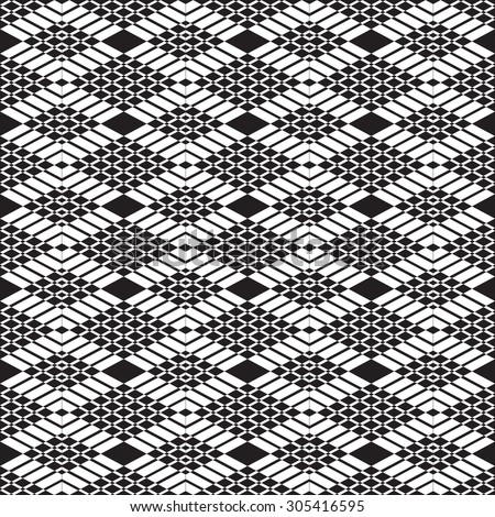 abstract geometric monochrome seamless pattern - vector illustration. In view of large and small diamonds. Black and white color. - stock vector