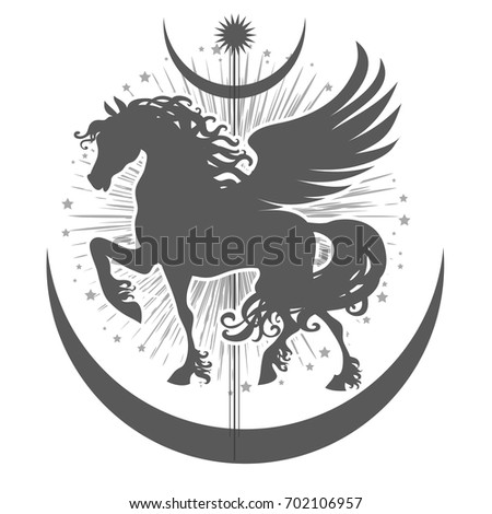 Abstract Geometric Mystical Symbol Pegasus Stars Stock Photo Photo