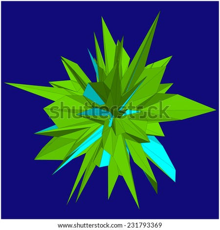 Abstract geometric object consisting of triangular polygons
