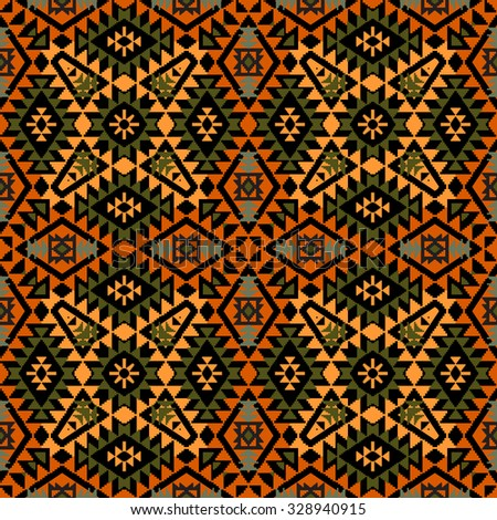 Abstract geometric ornament in ethnic style seamless pattern