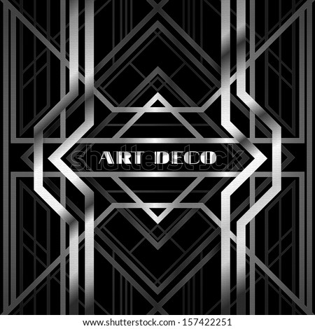 abstract geometric pattern, art deco style, silver grille on a black background - stock vector