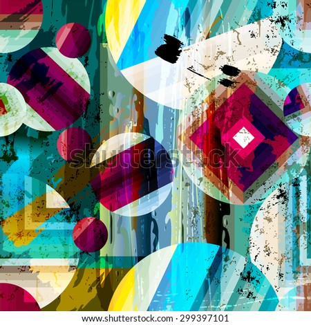 abstract geometric pattern background, with circles, strokes and splashes, seamless - stock vector