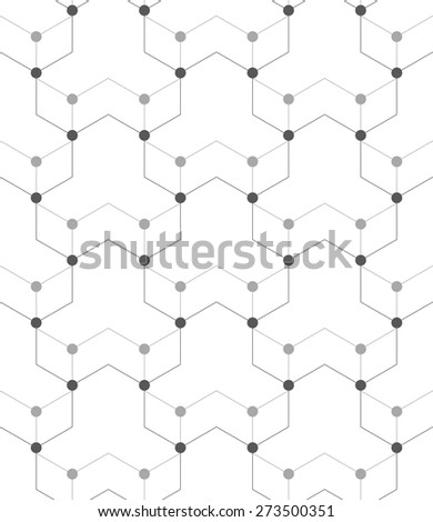 Abstract geometric pattern of the points, lines. A seamless vector background. Gray and white texture. - stock vector