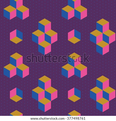 Abstract geometric pattern with cubes and little dots. Classic geometry texture