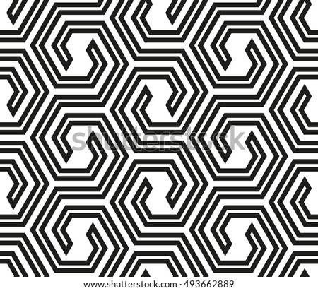 Abstract geometric pattern with lines, hexagons. A seamless vector background. White and black texture. Graphic modern pattern.
