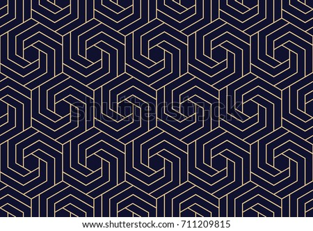 Abstract geometric pattern with lines, rhombuses A seamless background. Dark blue and gold texture.