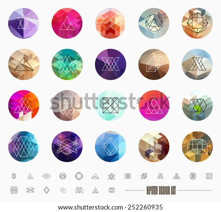 Abstract Geometric Patterns Set with Hipster Style Icons for Logo Design. Line Retro Signs for Logotypes and Business Cards. - stock vector