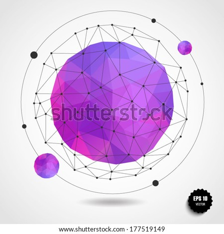 Abstract geometric pink-violet spherical shape from triangular faces for graphic design.Vector illustration EPS10. - stock vector