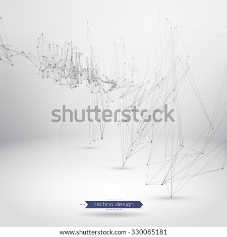 Abstract Geometric Polygonal Shape. Futuristic Technology Vector Science Background. Connecting Dots and Lines Structure - stock vector