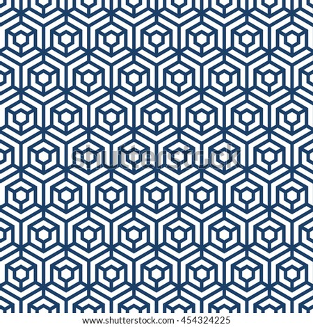 Abstract geometric repeatable blue and white hexagon seamless pattern design background editable vector file. Polygonal linear grid from striped elements. - stock vector