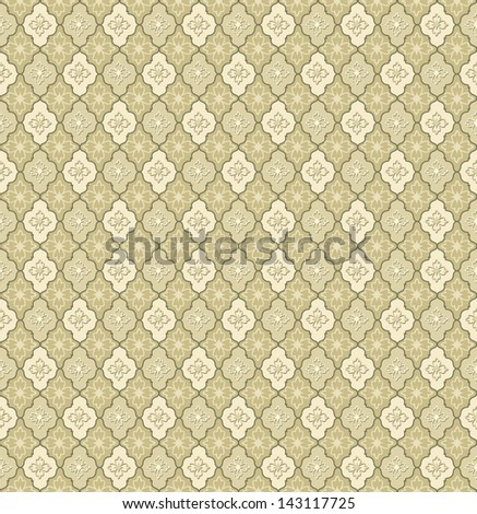 Abstract Geometric Retro Texture. Seamless pattern. Floral lightning ornament. Beige and white flower background - stock vector