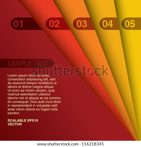 Abstract geometric scalable eps10 composition of 3d sheets as a paper background in warm colors, minimal layout design for universal use