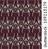 Abstract geometric seamless pattern. Aztec style pattern with triangle and line - stock vector