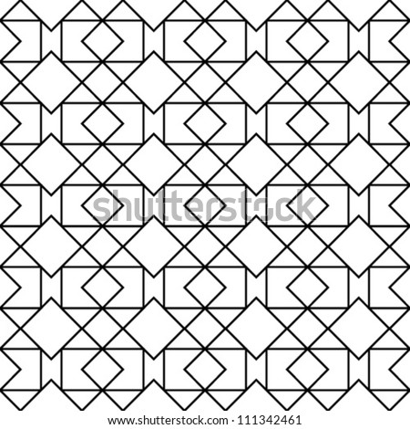 Abstract geometric seamless pattern. Black and white style pattern with triangle, rhombus and lines. - stock vector