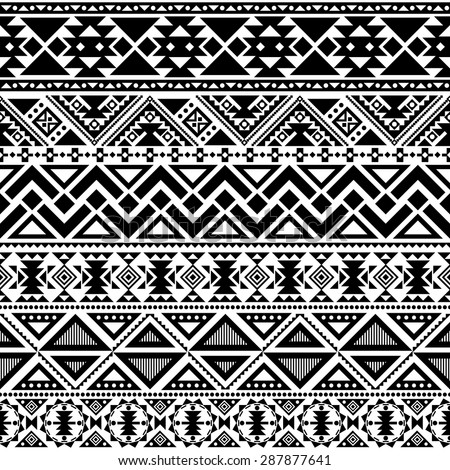 abstract geometric seamless pattern, ethnic style in black and white - stock vector