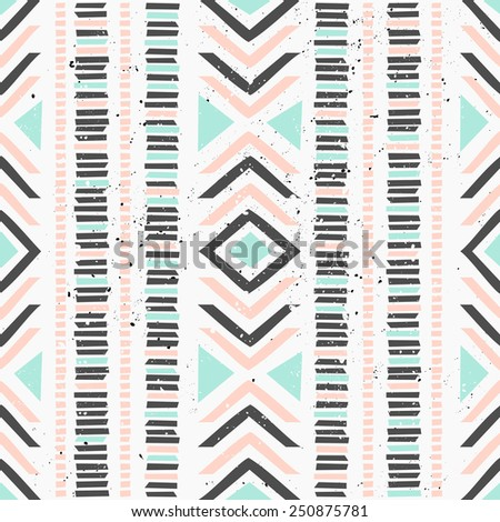 Abstract geometric seamless pattern in pastel colors. Ethnic decorative art in pink, blue and gray. Indian style repeat pattern. - stock vector