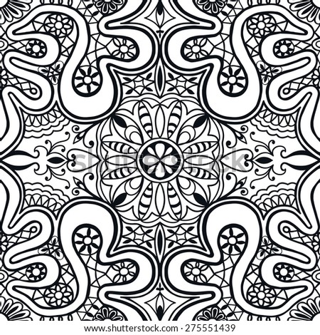 Abstract geometric seamless pattern. Islamic Arabian ornament. Tribal ethnic background, hand drawn fashion repeating texture. Black and white vector illustration - stock vector