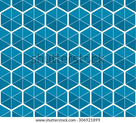 Abstract geometric seamless pattern of hexagons and triangles - stock vector