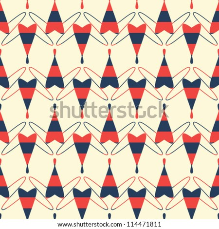 Abstract geometric seamless pattern. Pattern with heart and line. - stock vector