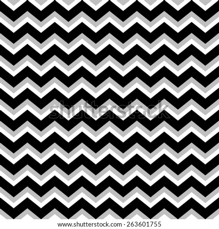 Abstract geometric seamless pattern. Simple black and white background with gray shadow.Vector illustration. Classic design. Chevron, zig zag pattern - stock vector