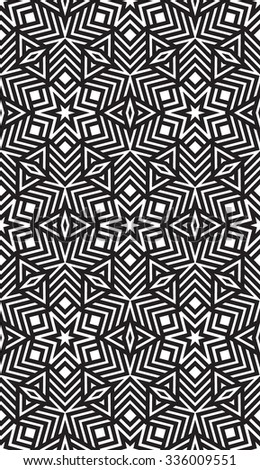 Abstract geometric seamless pattern square, lines, rhombus Symmetry black and white background - stock vector