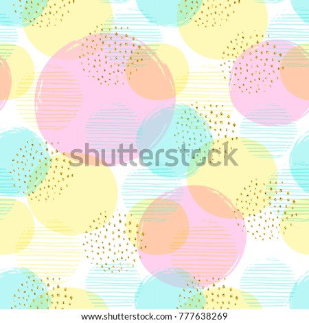 Abstract geometric seamless pattern with circles and gold glitter elements. Modern abstract design for paper, cover, fabric, interior decor and other users. Ideal for baby girl design.