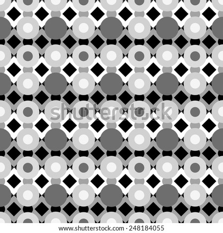 Abstract geometric seamless pattern with circles and rhombus. Monochrome repeating background texture  - stock vector