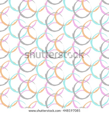 Abstract geometric seamless pattern with colored dots.