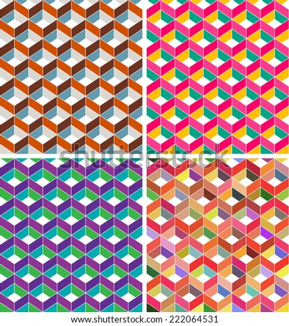 Abstract geometric seamless pattern with cubes - stock vector