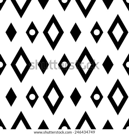 Abstract geometric seamless pattern with diamonds and circles in black and white. Modern monochrome background texture  - stock vector