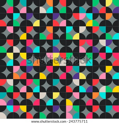 Abstract geometric seamless pattern with multicolored circles. Vector illustration can be copied without any seams.
