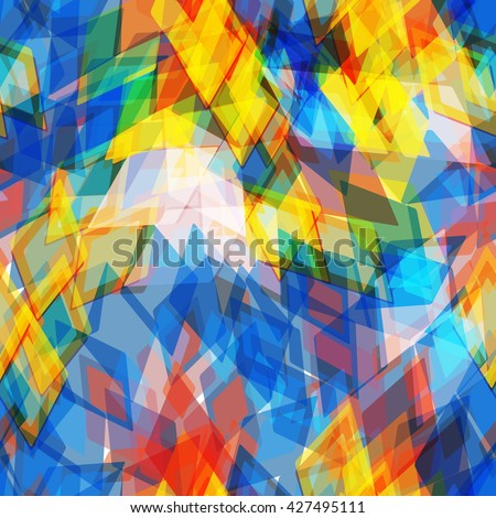 Abstract geometric seamless pattern with rhombus and brilliant decorative geometric and abstract contemporary elements. yellow red blue aqua geometric print, ethnic hipster trendy backdrop. Vector - stock vector