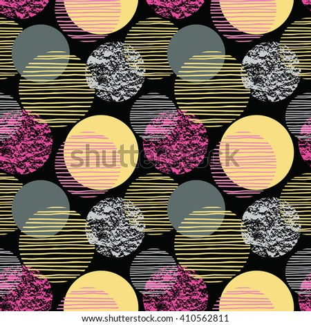 Abstract geometric seamless pattern with trendy hand drawn textures. Modern abstract design for poster, cover, fabric and other users. - stock vector