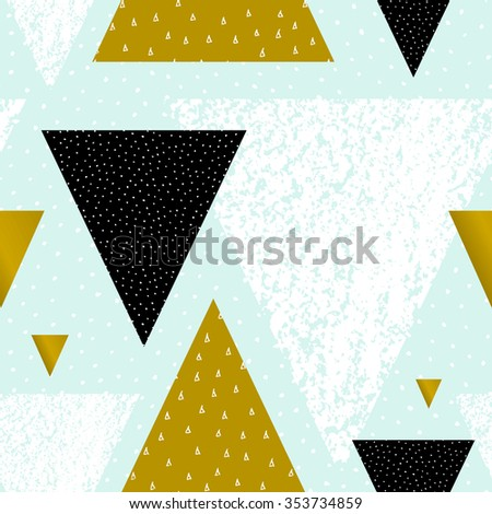 Abstract geometric seamless repeat pattern in black, white, green and pastel blue. Hand drawn vintage texture, dots pattern and geometric elements. Modern abstract design poster, cover, card design. - stock vector