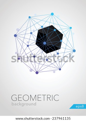 abstract geometric shape of molecular compounds vector - stock vector