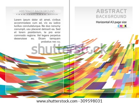 Abstract geometric shapes background and brochure cover template. (Horizontal A3-A4 page size) - stock vector