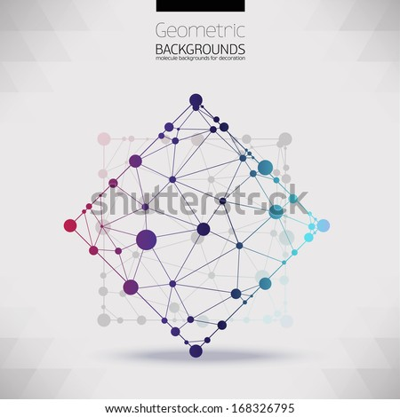 Abstract geometric shapes of molecular compounds.Molecular sieves, diamond-shaped,geometric pattern in the form of a triangle shapes.Color picture composition for your design.The molecular lattice. - stock vector