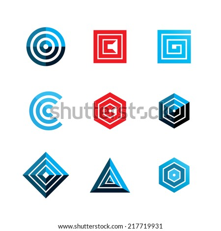Abstract Geometric Shapes Template Logo Design Stock Vector ...