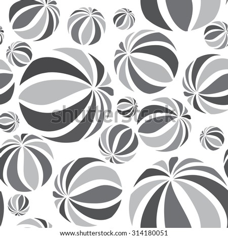 Abstract geometric striped balls seamless pattern. Circular texture for wallpaper, surface or cover. Fun funky background. Black and white wallpaper - stock vector