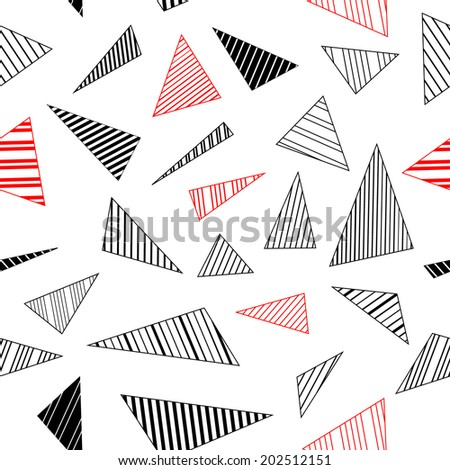 Abstract geometric striped triangles seamless pattern in black and white, vector - stock vector