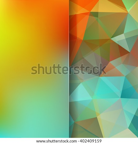 Abstract geometric style colorful  background.  Colorful business background  Blur background with glass. Vector illustration. Yellow, red, orange, brown, green colors.  - stock vector