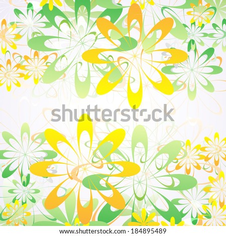 Abstract geometric summer background with colorful flowers. Vector illustration. - stock vector