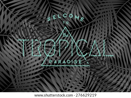 Abstract geometric summer design in neon blue on a black and white palm tree leaves background. Modern hipster style line art. Apparel, poster, brochure, t-shirt design. - stock vector