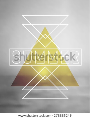 Abstract geometric summer design on a black and white blurred ocean background. Modern hipster apparel, poster, brochure, t-shirt design. EPS 10 file, gradient mesh and transparency effects used. - stock vector