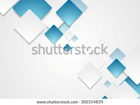Abstract geometric tech blue white paper squares design. Vector background - stock vector