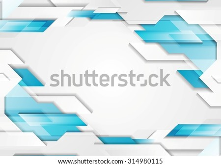 Abstract geometric tech corporate background. Blue white grey gradient colors. Vector illustration design - stock vector