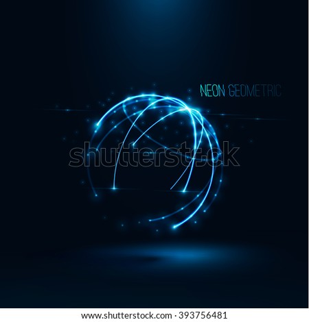 Abstract geometric technology shape of glowing particles Light neon dots and lines sphere wireframe Network connection Neon grid globe Futuristic earth background Vector digital 3d planet illustration - stock vector